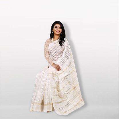 Picture of  White Silk & Cotton Saree For Women