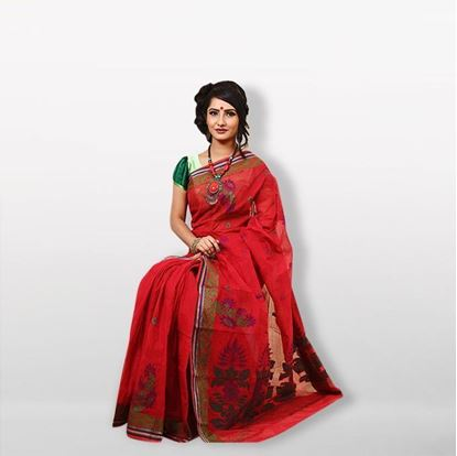 Picture of  Red Handwork Cotton Saree For Women