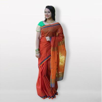 Picture of  Multicolor Soft Cotton Saree For Women