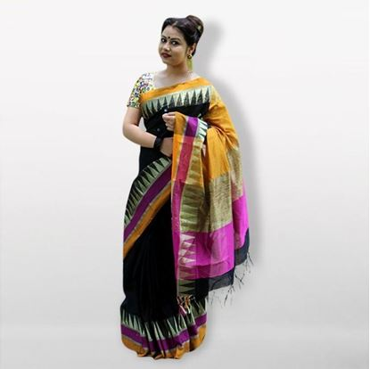 Picture of  Black Silk Cotton Saree For Women