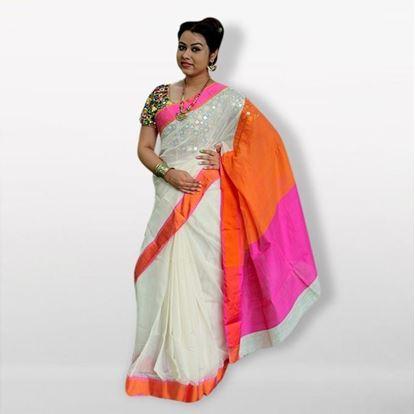 Picture of  White and Orange Silk Cotton Saree