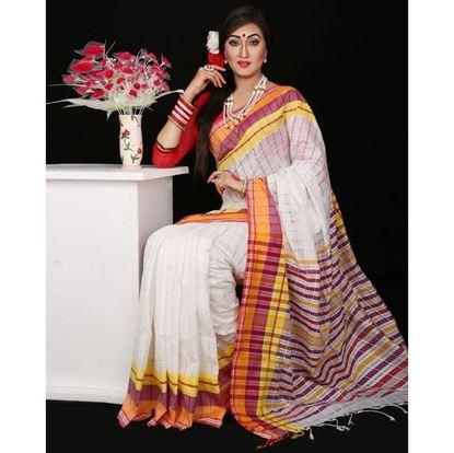 Picture of White Silk Saree For Women