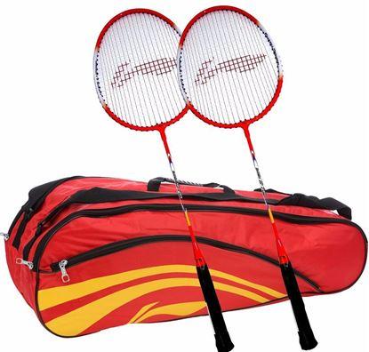 Picture of Li-Ning Smash XP 709 Strung Badminton Raquet (Set of 2) + Li-Ning Double Belt 2-in-1 Thermal Racquet Bag