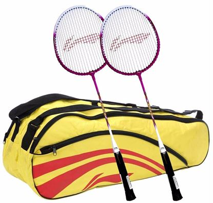 Picture of Li-Ning Smash XP 708 Strung Badminton Raquet (Set of 2) + Li-Ning Double Belt 2-in-1 Thermal Racquet Bag