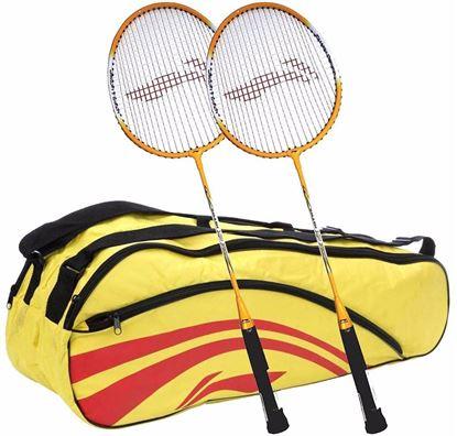 Picture of Li-Ning Smash XP 710 Strung Badminton Raquet (Set of 2) + Li-Ning Double Belt 2-in-1 Thermal Racquet Bag