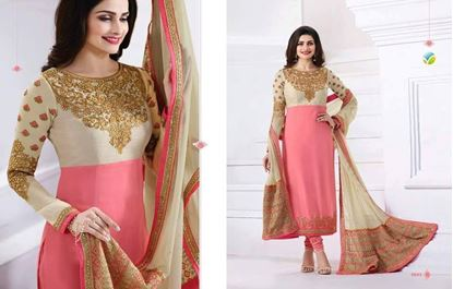 Picture of Vinay Fashion Indian Copy Dress Pink & Cream