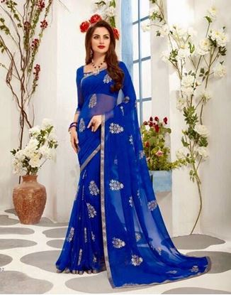 Picture of ORIGINAL INDIAN PURE GEORGETTE BLUE