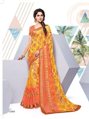 Picture of ORIGINAL INDIAN PURE GEORGETTE YELLOW &ORANGE