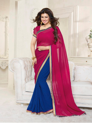 Picture of Indian Pure Chiffon Georgette Saree Blue & Red
