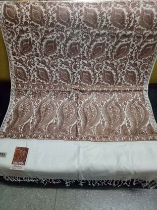 Picture of Kashmiri Shawls For Women-White & Chocolate