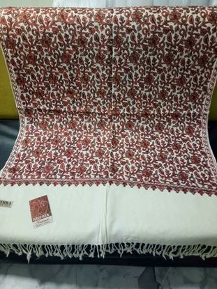 Picture of Kashmiri Shawls For Women-White & Maroon