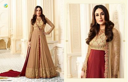 Picture of VINAY Original Indian Gown Cream & Maroon