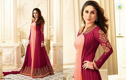 Picture of VINAY Original Indian Gown Salmon & Maroon