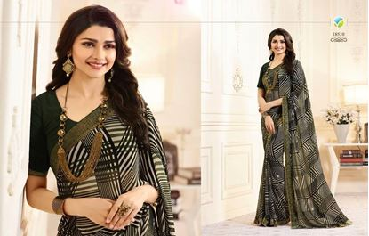 Picture of Original Indian Georgette Seree-Black & Green