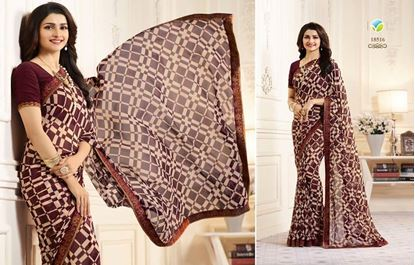 Picture of Original Indian Georgette Seree-Maroon
