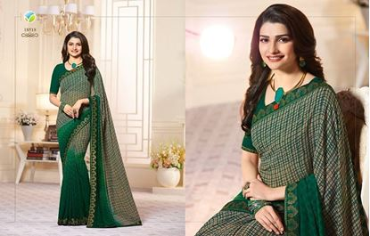 Picture of Original Indian Georgette Seree-Green