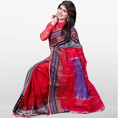 Picture of  Red and Gray Musleen Cotton Saree