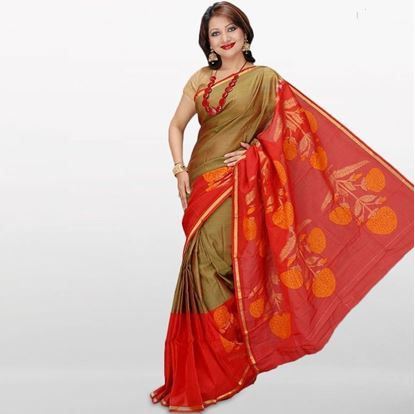 Picture of Golden and Red Musleen Cotton Saree