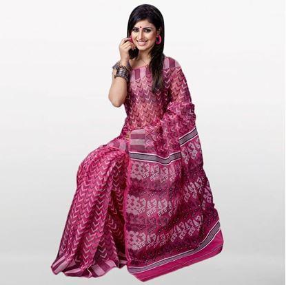 Picture of Medium Violet Musleen Jamdani Saree