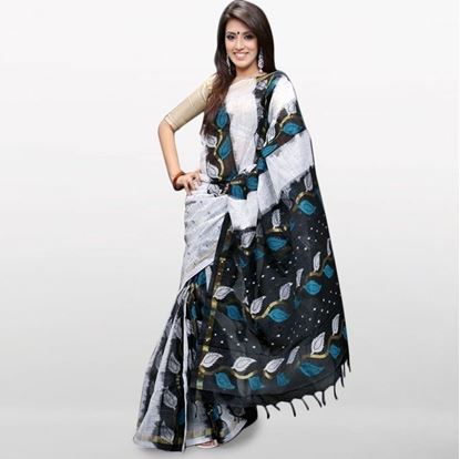Picture of  White and Black Musleen Saree