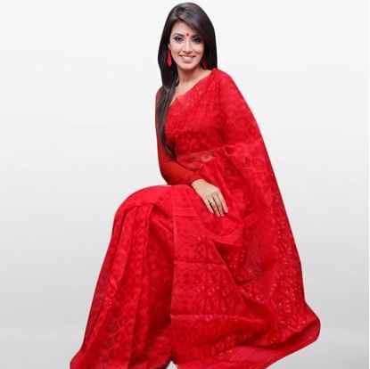 Picture of  Red Musleen Jamdani Saree For Women