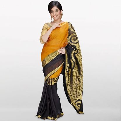 Picture of  Yellow and Black Musleen Cotton Saree