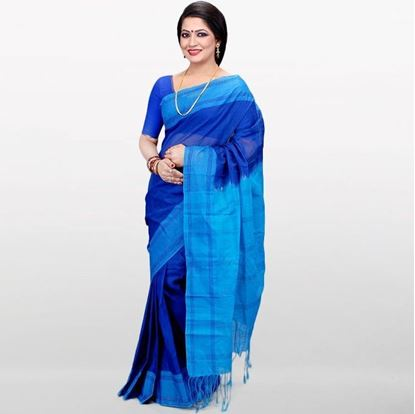 Picture of Blue and Sky Blue Musleen Cotton Saree
