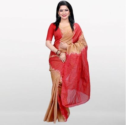 Picture of  Red and Golden Musleen Cotton Saree