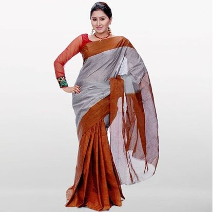 Picture of  Gray and Chocolate Musleen Cotton Saree