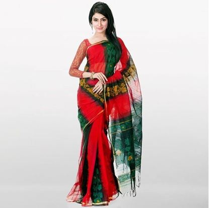 Picture of  Red and Green Musleen Saree