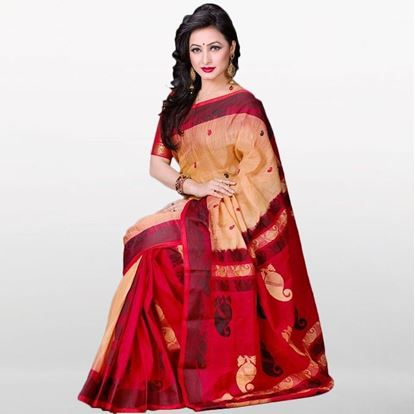 Picture of  Red and Golden Musleen Saree For Women
