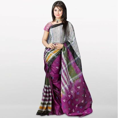 Picture of  Light Gray and Purple Musleen Saree