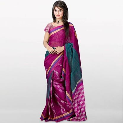 Picture of  Purple Musleen Cotton Saree For Women