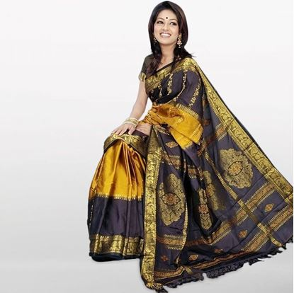 Picture of  Yellow and Light Gray Musleen Saree