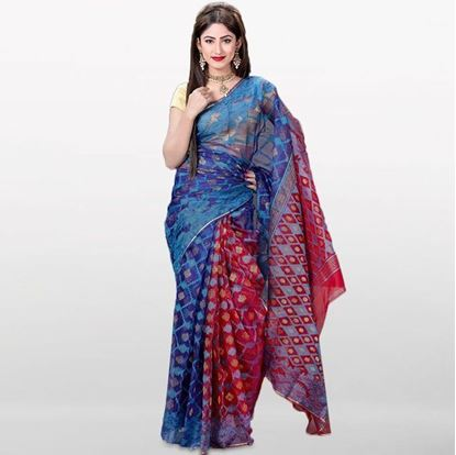 Picture of Blue and Red Musleen Jamdani Saree