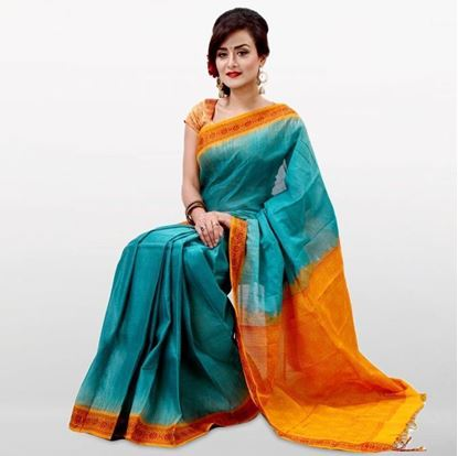 Picture of  Teal and Golden Yellow Musleen Cotton Saree