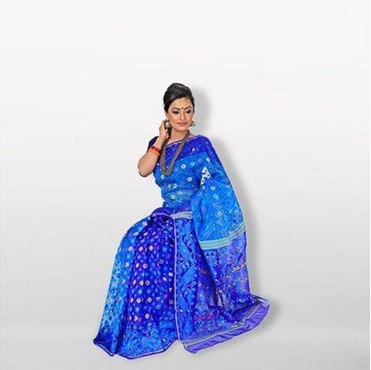 Picture of Blue Musleen Jamdani Saree For Women