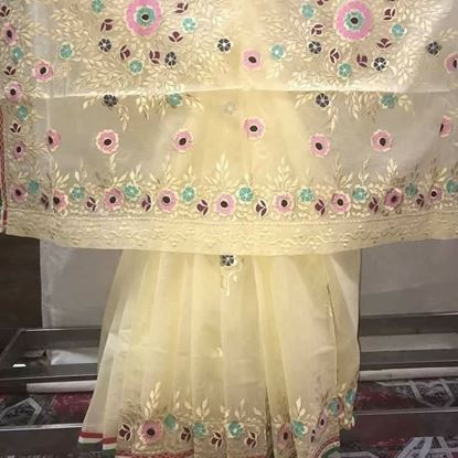 Picture of Moslin silk saree-Cream