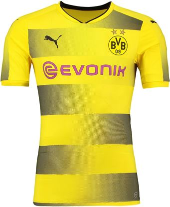 Picture of 2017-18 Borussia Dortmund Home Half Sleeve Jersey