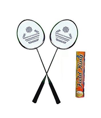 Picture of CB-88 Badminton Racket Pair With Field King Badminton Shuttle Cock ( Pack of 10 )- Badminton Kit