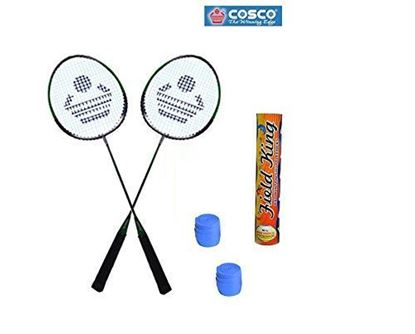 Picture of CB-88 Badminton Kit- ( 2 Racket, 2 Grip and Field King Shuttle Cock- Pack of 10 )