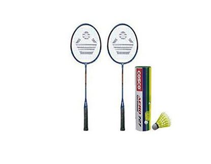Picture of Cosco Cb-300 Badminton Racket Pair With Aero 727 Nylon Shuttle Cock