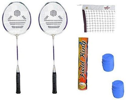 Picture of Cosco CB-89 Badminton Kit ( 2 Rackets, 2 Grip, 1 Nylon Badminton Net ,1 Fieldking shuttle cock- Pack of 10 )