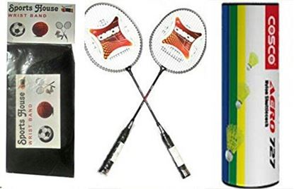 Picture of Cosco CB 150E Badminton Racquet (Pack of 2) and Aero 727 Yellow Nylon Shuttle Cock (Pack of 6) WITH FREE SPORTSHOUSE WRIST BAND