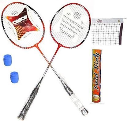 Picture of Cosco CB-95 Badminton Kit ( 2 Rackets, 2 Grip, 1 Nylon Badminton Net ,1 Fieldking shuttle cock- Pack of 10 )