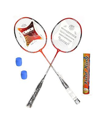 Picture of CB-95 Badminton Kit- ( 2 Racket, 2 Grip and Field King Shuttle Cock- Pack of 10 )
