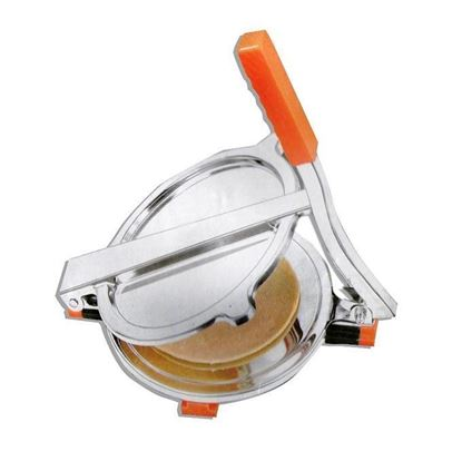 Picture of New Collection Stainless Steel Roti Maker/Puri Press - Silver and Orange