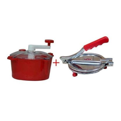 Picture of Sky Haat Combo of Puri and Dough Maker - Red and Silver