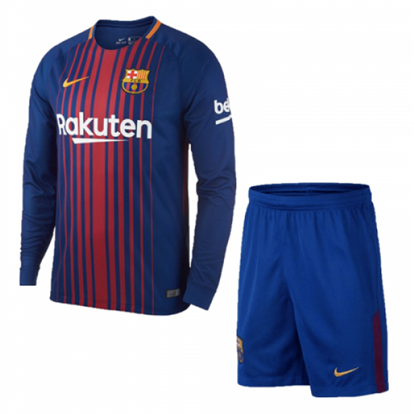 Picture of 2017-18 FC Barcelona Home Full Sleeve Jersey With Pant