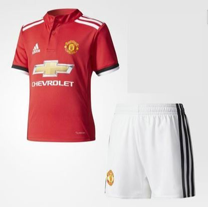 Picture of 2017-18 Manchester United Home Half Sleeve Jersey With Pant